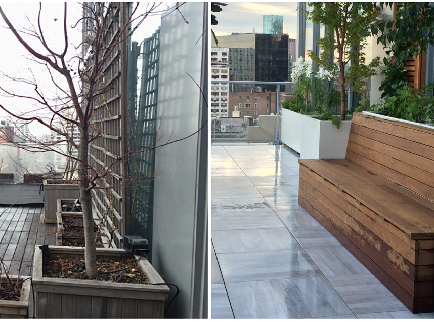 Before and after photos of a parecelain deck terrace in Manhattan